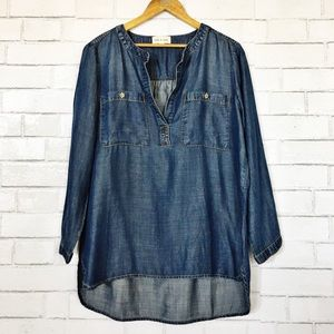 Cloth & Stone Bess Dark Wash Chambray Henley Top